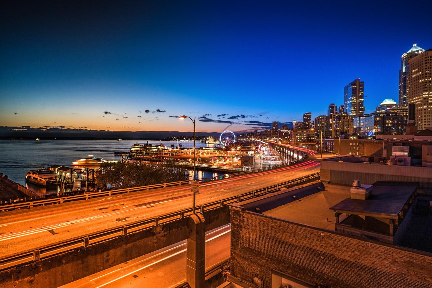 Seattle na zonsondergang